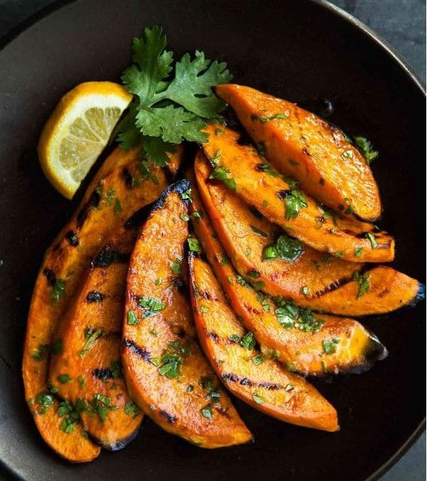open fire grilled sweet potatoes