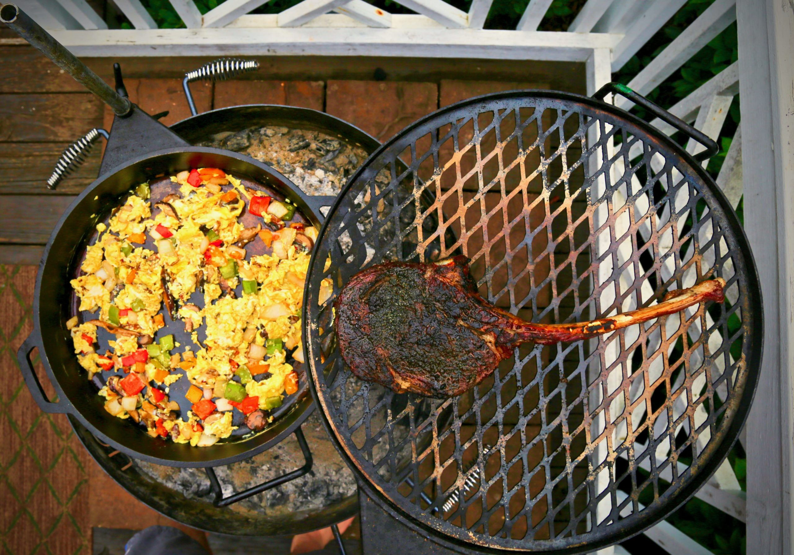 steak and eggs recipe on KUDU camping grill