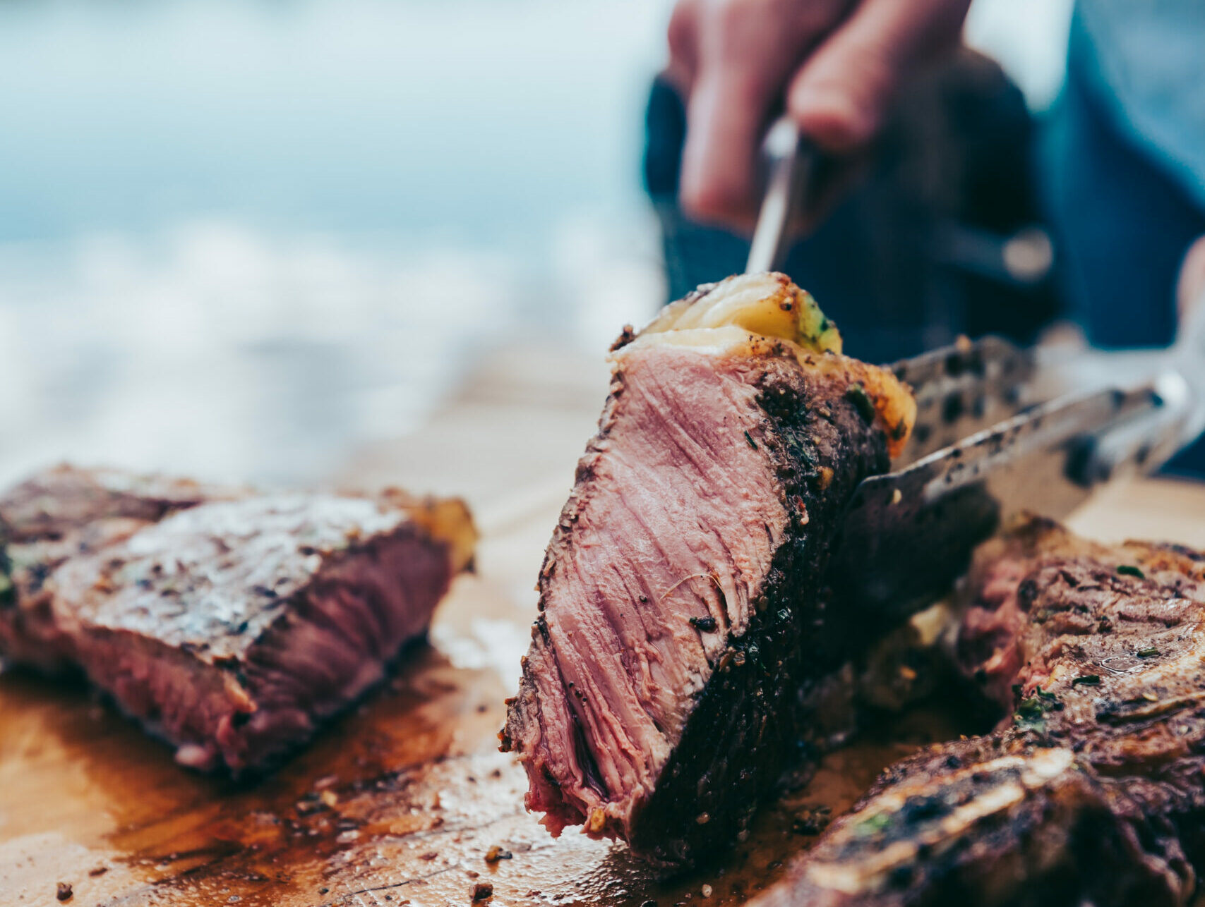 Melt off the bone steak ready for serving